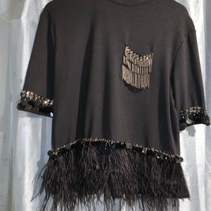Black bedazzled shirt with feathers
